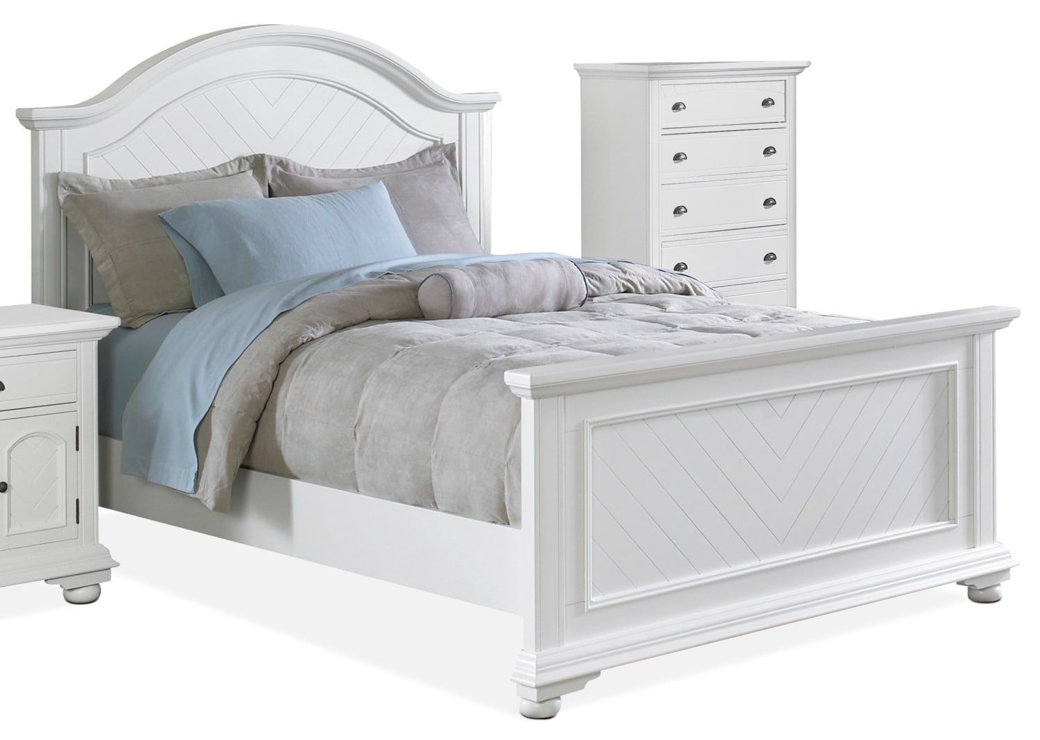 Brook 4-Piece King Bed and Chest Package – Off-White