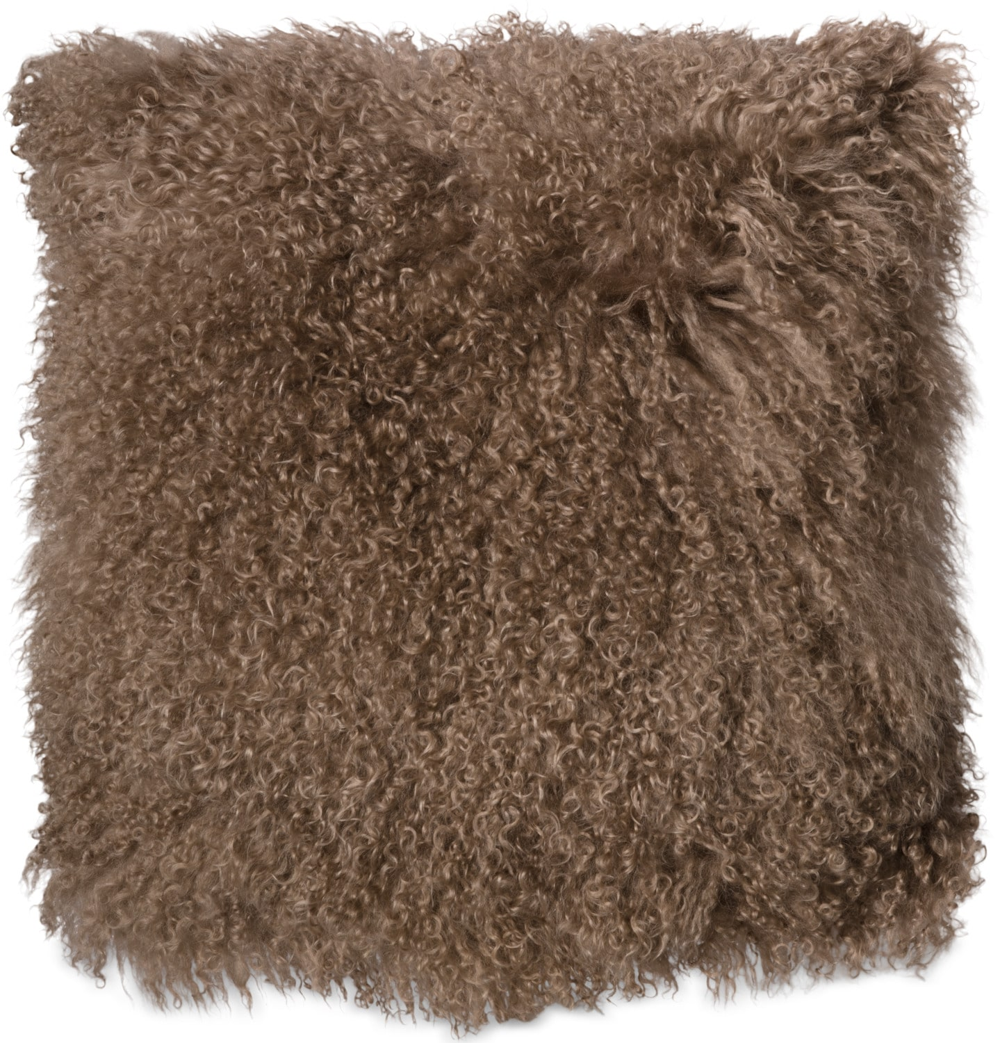 Mongolian Sheepskin Accent Pillow – Taupe