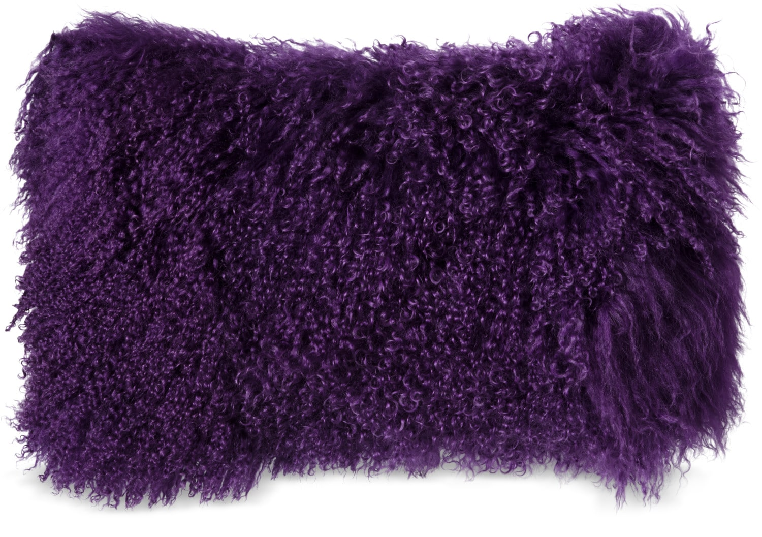 "Mongolian Sheepskin Accent Pillow – Purple 12"" x 20"""