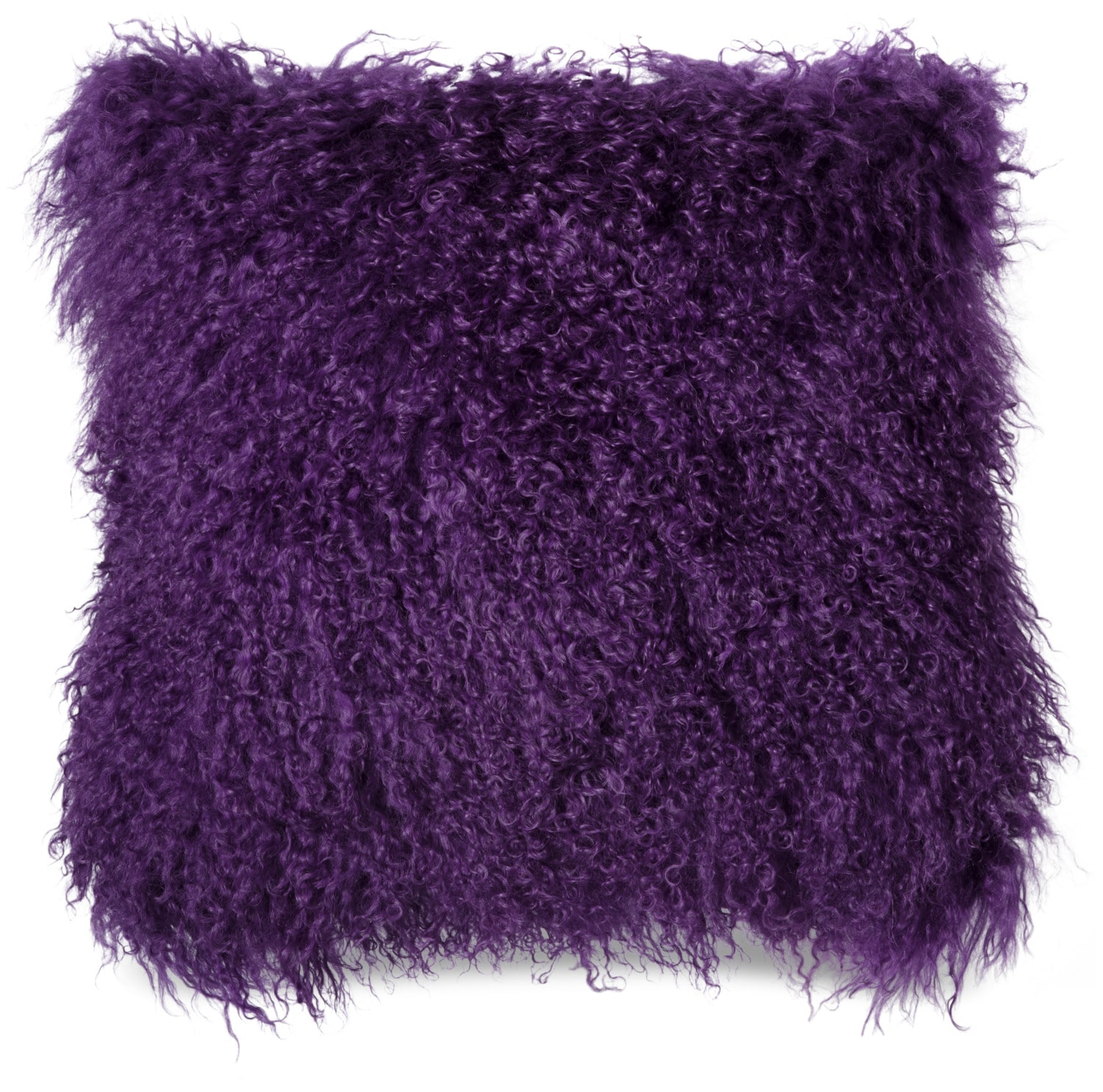 Mongolian Sheepskin Accent Pillow – Purple