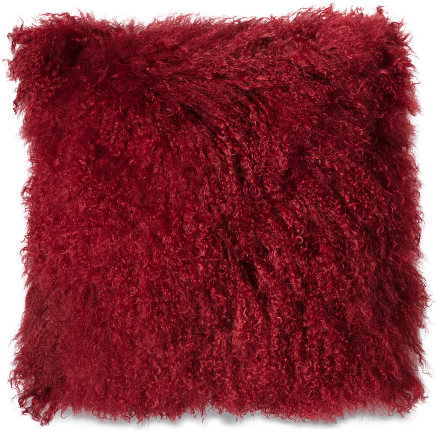 Mongolian Sheepskin Accent Pillow – Red