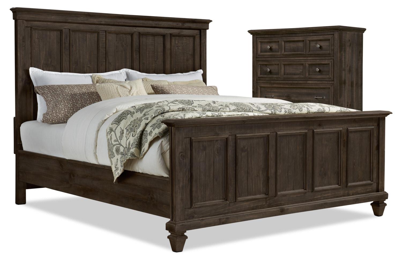Ensemble Calistoga 4 pièces avec très grand lit et commode verticale - anthracite vieilli