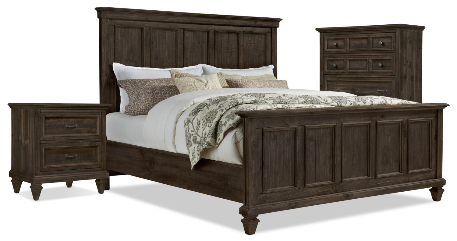 Calistoga 5-Piece King Bedroom Package with Chest and Nightstand – Weathered Charcoal