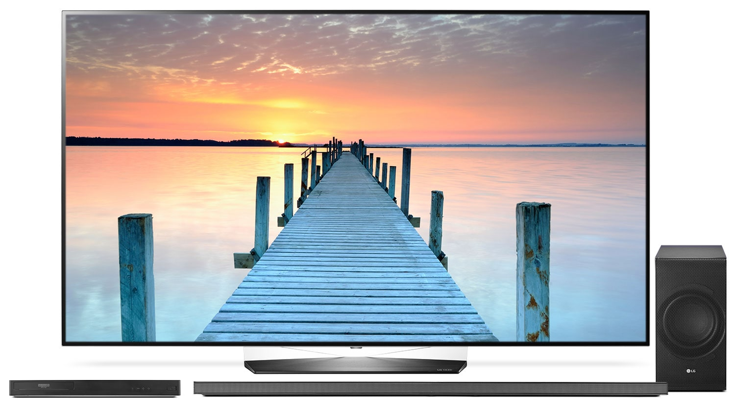 "LG 65"" B7 OLED 4K UHD TV with UP970 Blu-ray Player and SJ8 Soundbar Package"