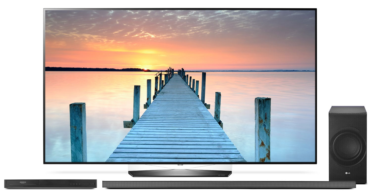 "LG 55"" B7 OLED 4K UHD TV with UP970 Blu-ray Player and SJ8 Soundbar Package"