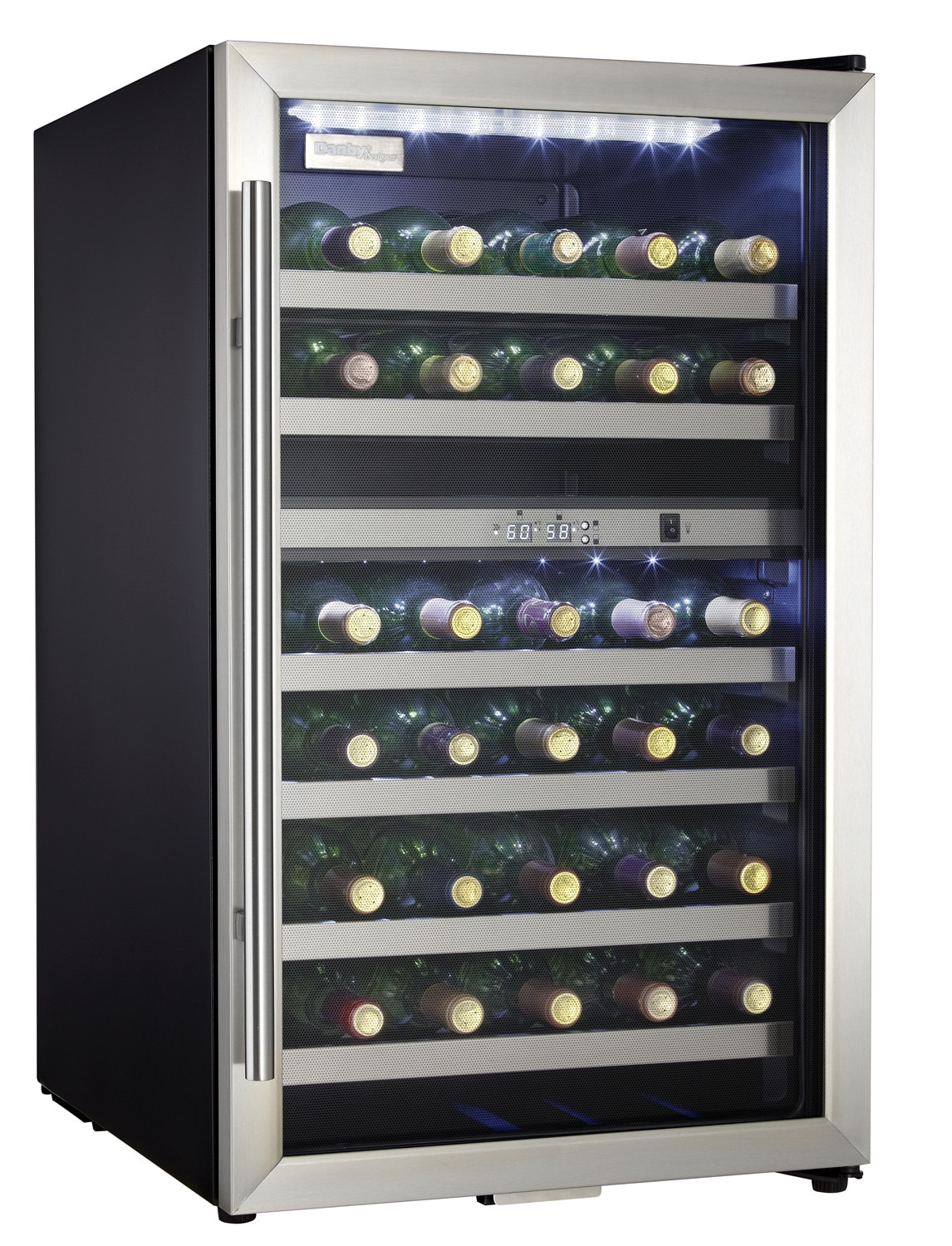 danby stainless steel dualzone wine cooler ( cu ft  - hover to zoom