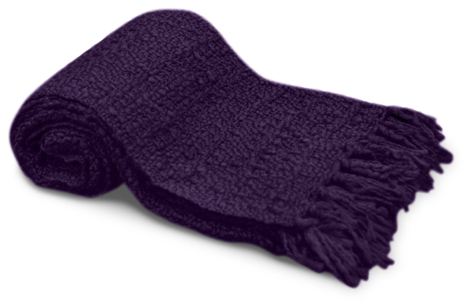 Mattresses and Bedding - Knit Throw with Tassels – Purple