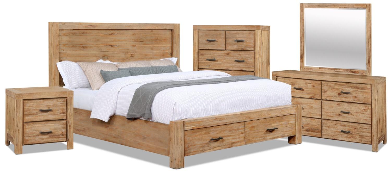 Bedroom Furniture - Acadia 7-Piece King Storage Bedroom Package