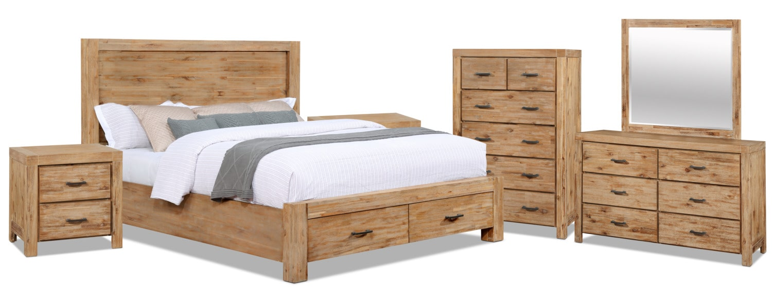 Bedroom Furniture - Acadia 8-Piece King Storage Bedroom Package