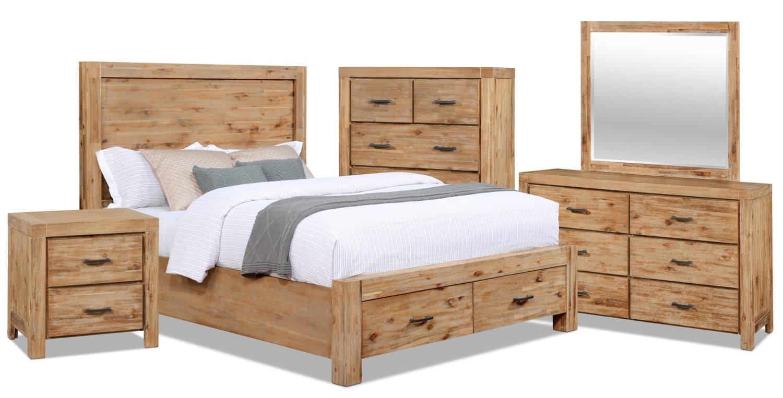 Ensemble de chambre à coucher Acadia 7 pièces avec grand lit de rangement