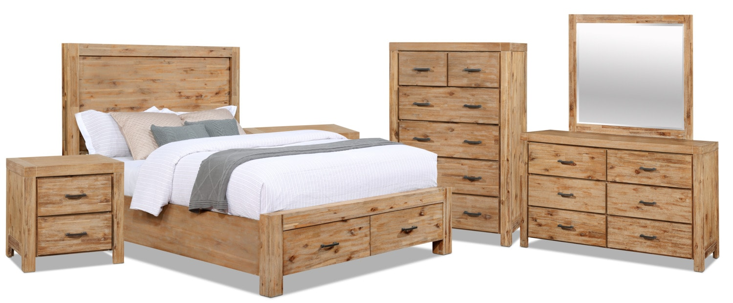 Bedroom Furniture - Acadia 8-Piece Queen Storage Bedroom Package