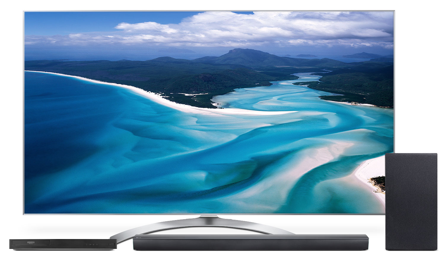 "LG 55"" SJ8500 4K Super UHD TV with UP970 Blu-ray Player and SJ5Y Soundbar Package"