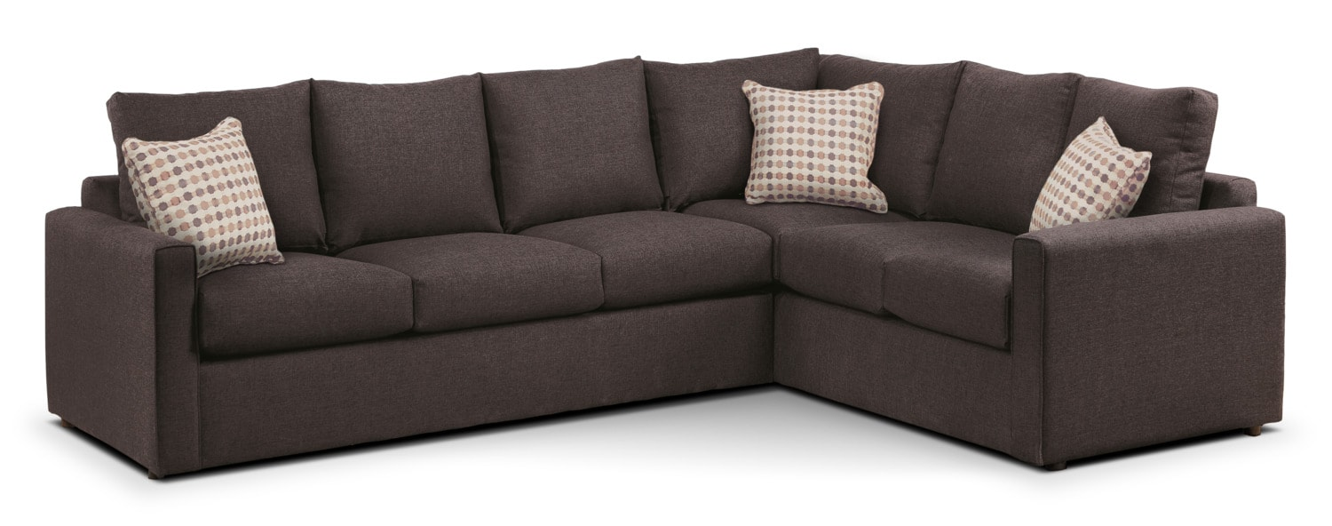 Athina 2-Piece Left-Facing Queen Sofa Bed Sectional - Nutmeg