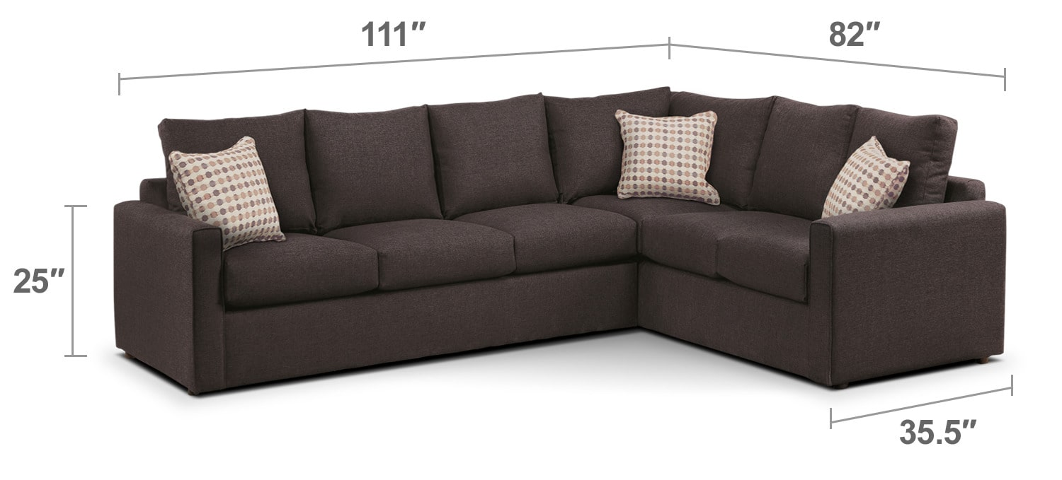 Living Room Furniture - Athina 2-Piece Left-Facing Queen Sofa Bed Sectional - Nutmeg
