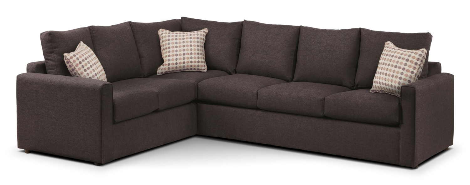 Living Room Furniture - Athina 2-Piece Right-Facing Queen Sofa Bed Sectional - Nutmeg