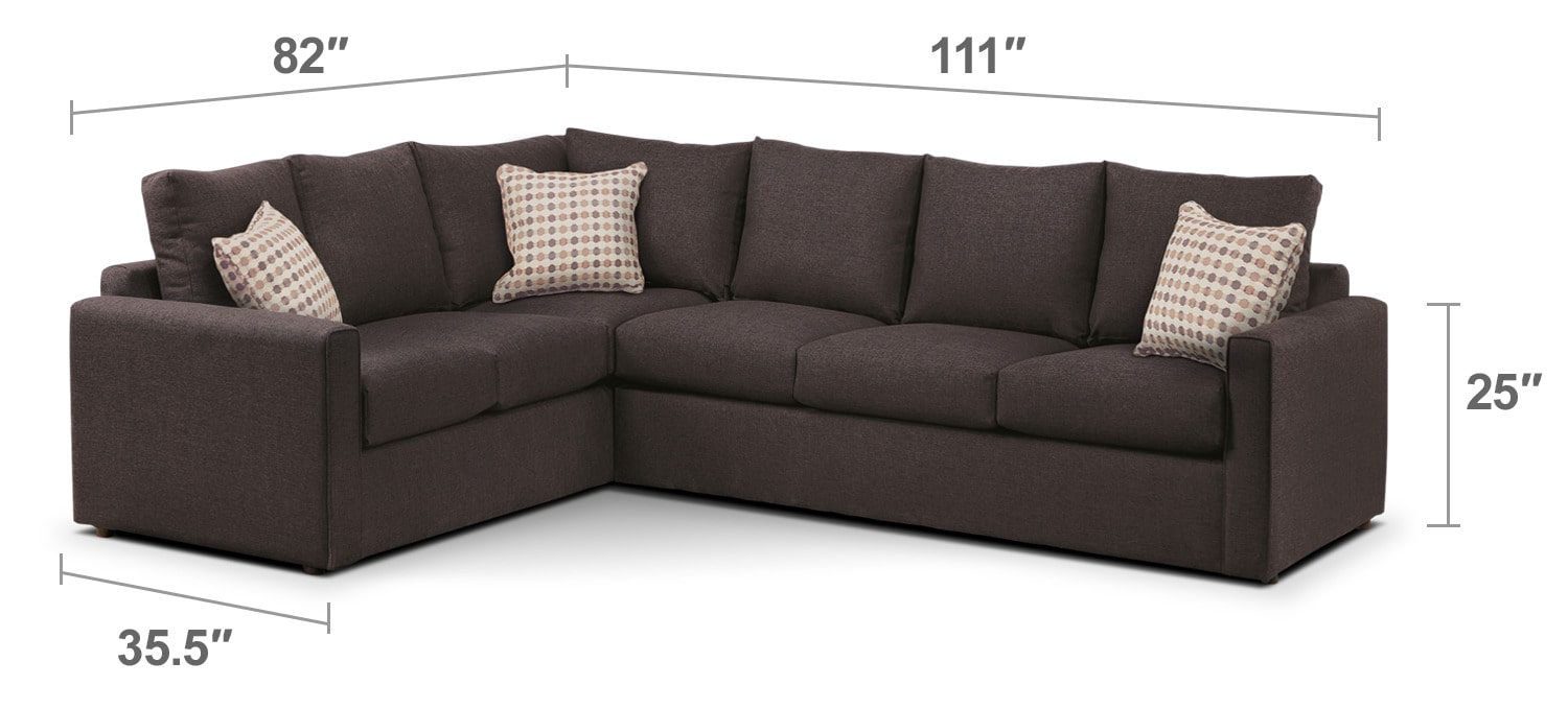Athina 2 piece right facing queen sofa bed sectional for Sofa bed 65 inches