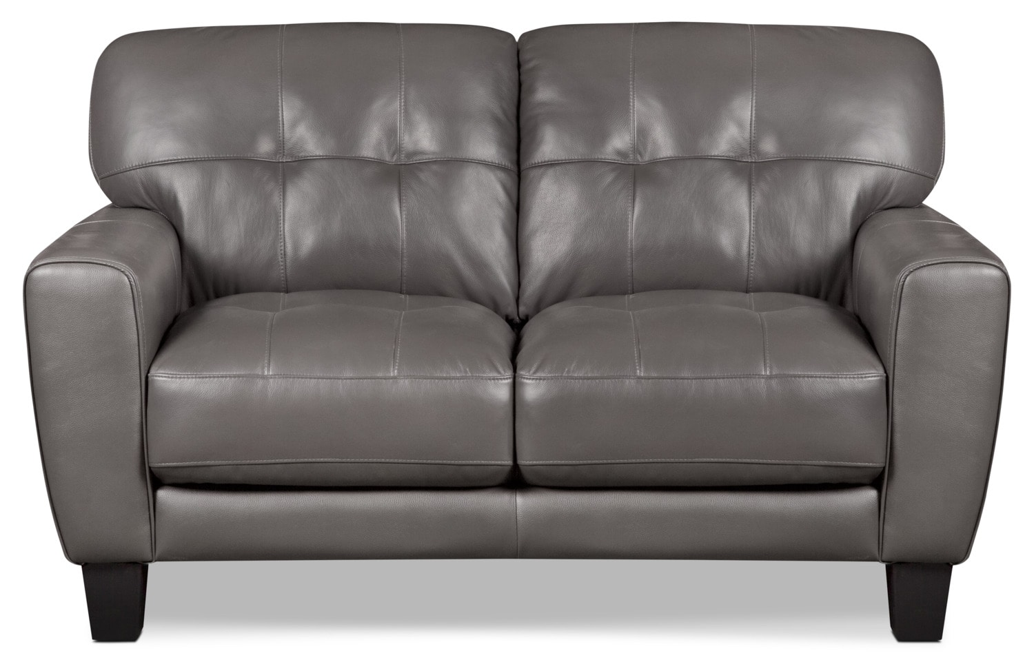 Abby Genuine Leather Loveseat – Grey