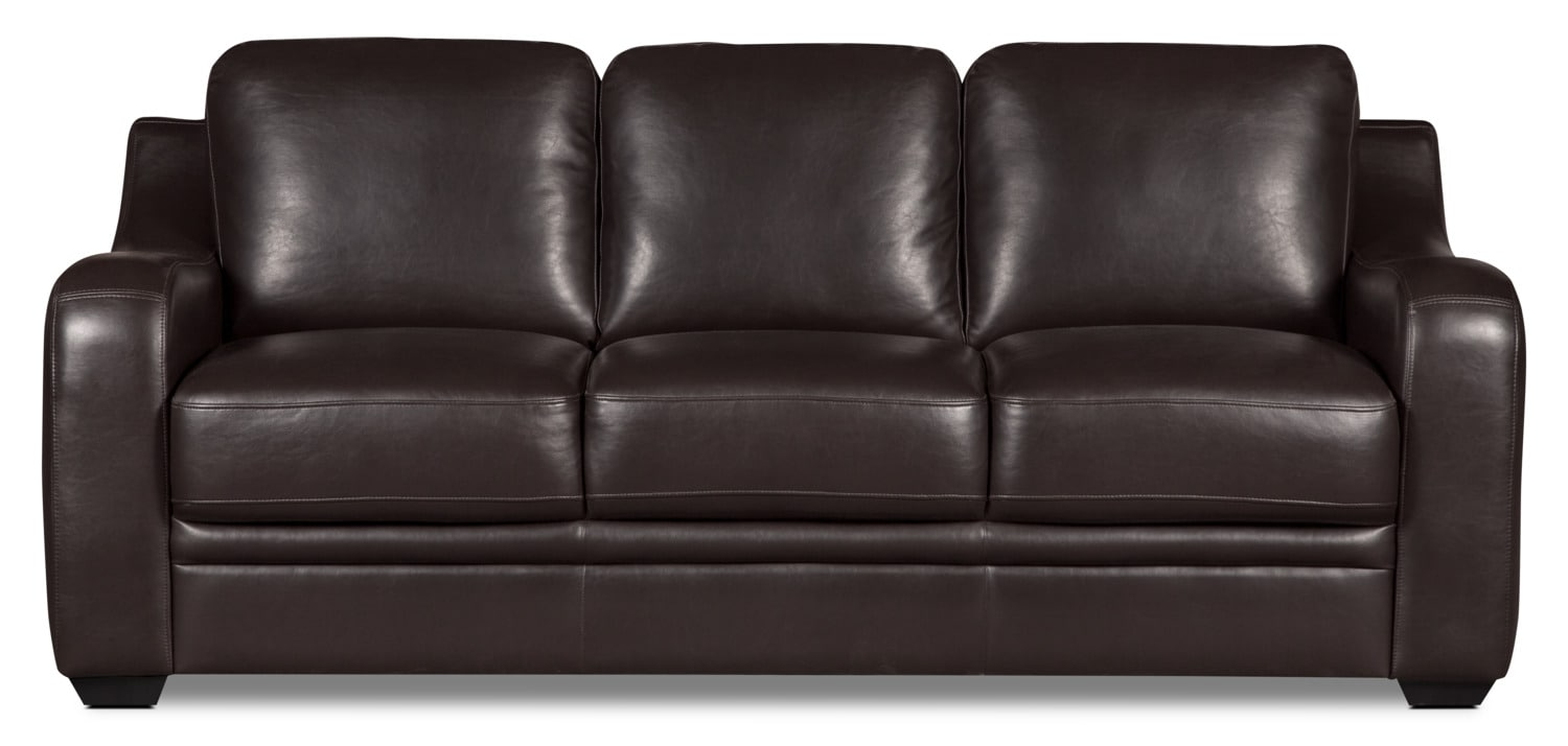 Benson Leather-Look Fabric Queen-Size Sofa Bed – Brown