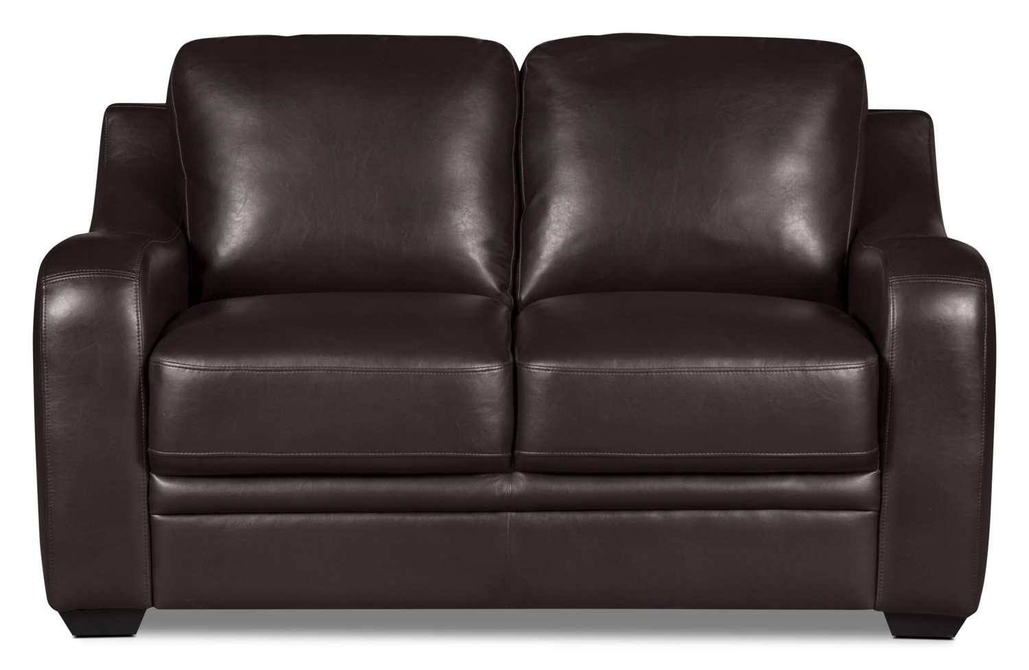 Benson Leather-Look Fabric Loveseat – Brown