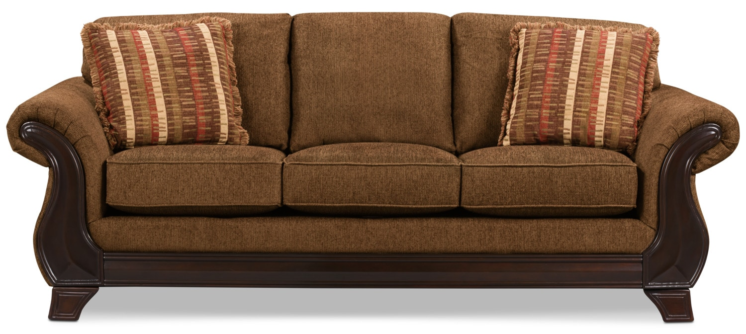 Ivan Chenille Queen-Size Sofa Bed - Brown
