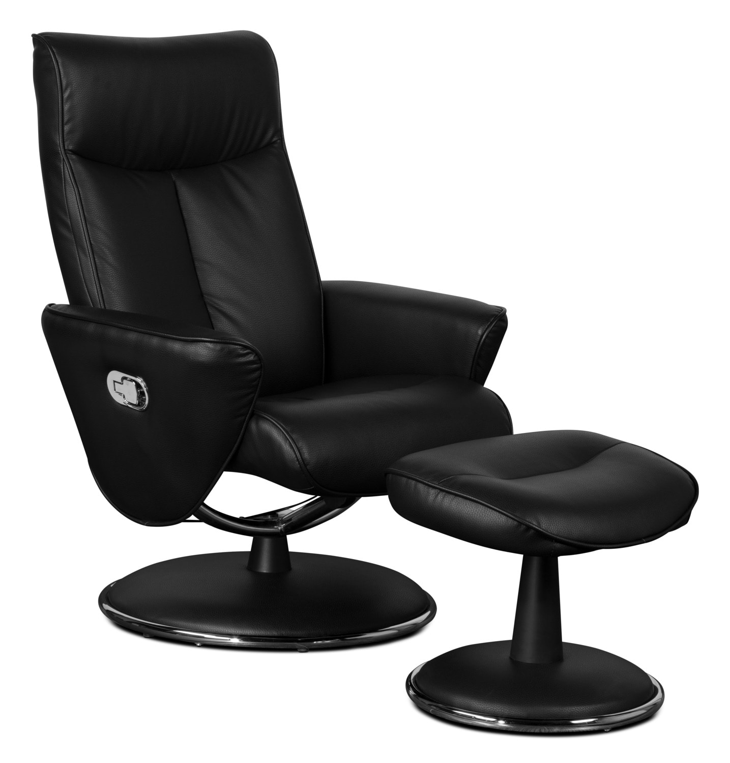 Vance Faux Leather Swivel Reclining Chair with Ottoman – Black