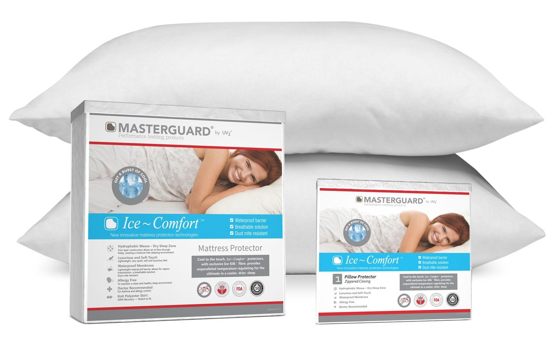 MasterGuard® Ice-Comfort® Mattress Protector, Pillow Protector and 2 Pillows Set – Queen