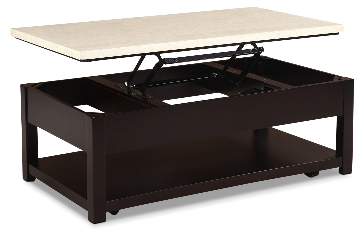 Sicily Coffee Table with Lift-Top and Casters – Beige