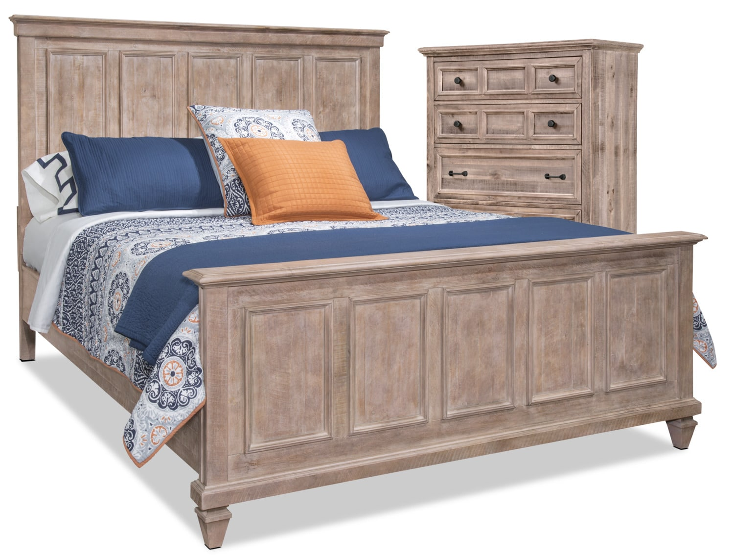 Calistoga 4 Piece Queen Bed And Chest Package Dovetail Grey The Brick