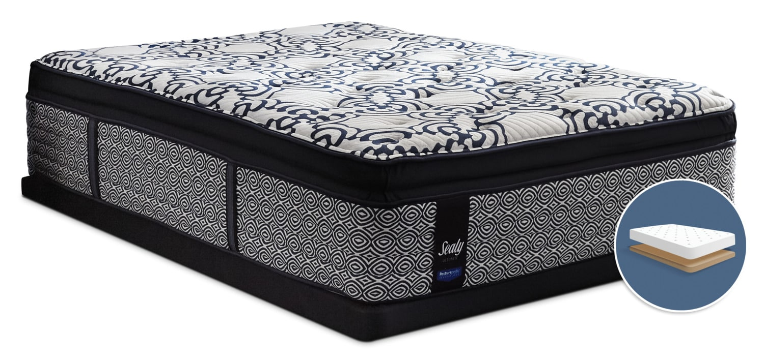 Posturepedic Ultimate Silverberry Euro Pillow-Top Plush Low-Profile Queen Mattress Set