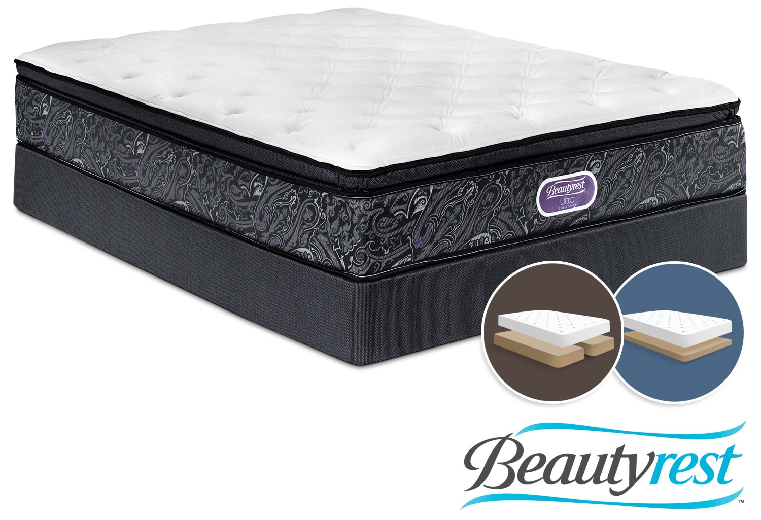 Simmons Beautyrest Ultra Silvia Firm Queen Mattress and Split Low-Profile Boxspring Set