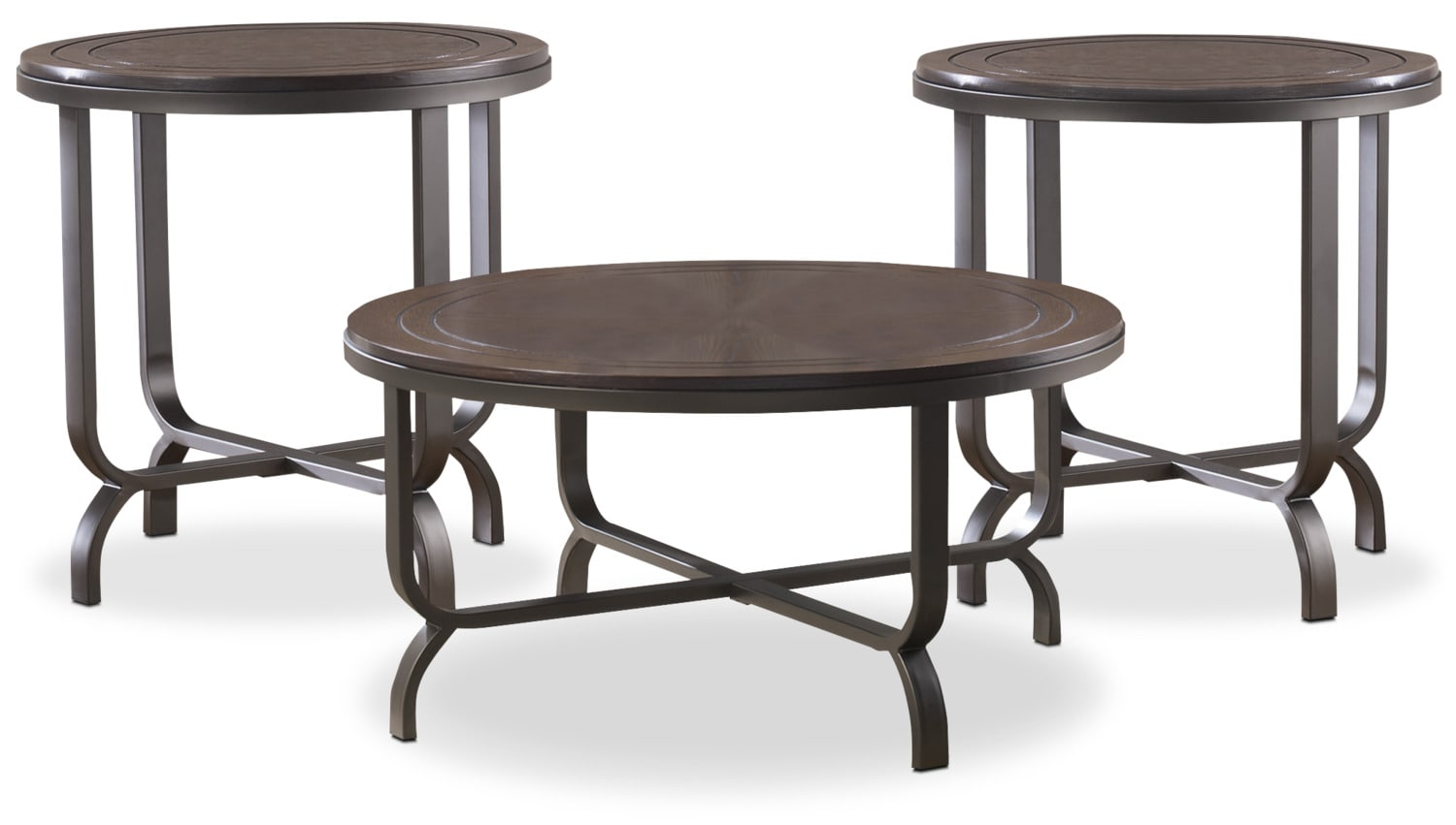 Accent and Occasional Furniture - Ferlin 3-Piece Coffee and Two End Tables Package