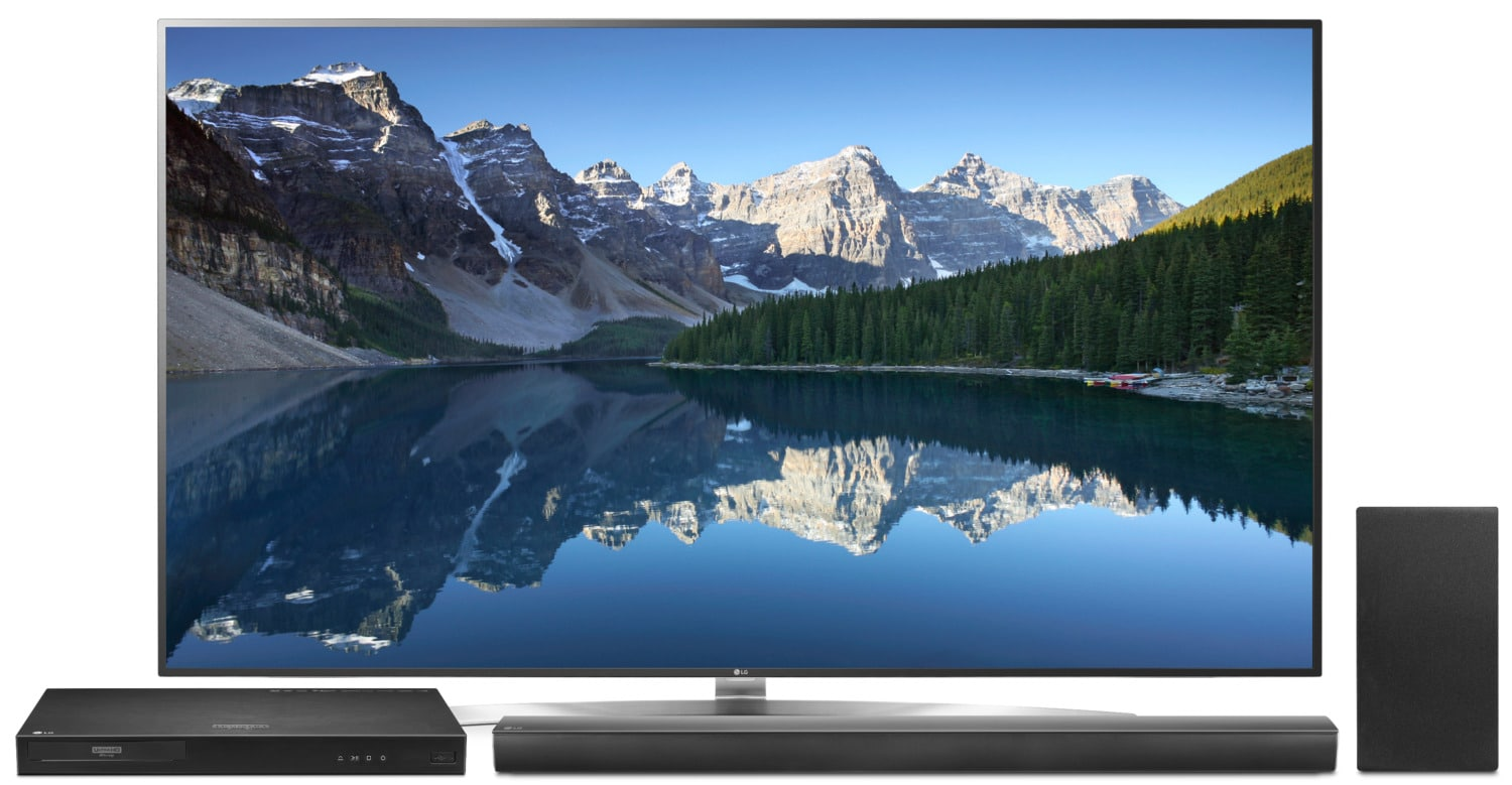 "LG 75"" 4K UHD Smart Television with Soundbar, Subwoofer and 4K Blu-ray Player Package"