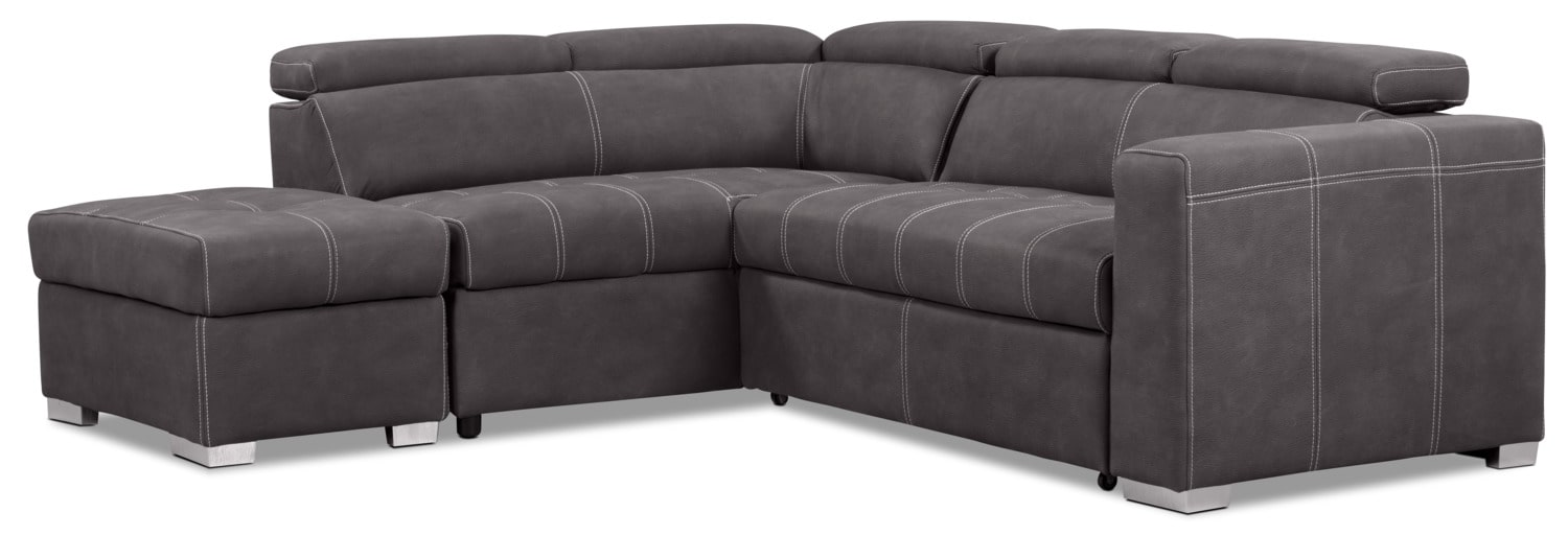 Drake 3-Piece Faux Suede Left-Facing Sectional with Sofa Bed – Cement