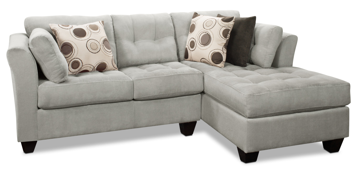 Living Room Furniture - Designed2B Dez 2-Piece Right-Facing Textured Chenille Sectional – Plush Pewter