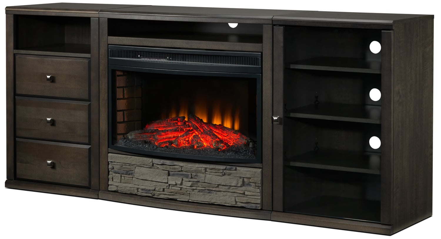Onyx 4-Piece Fireplace Entertainment Unit - Charcoal