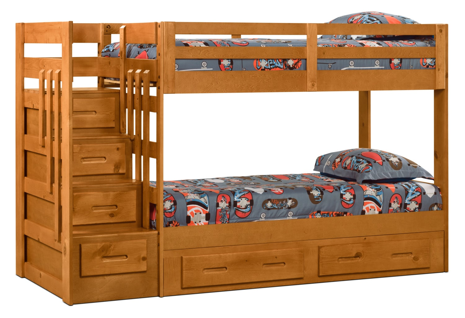 Ponderosa Staircase Bunk Bed with Storage Trundle