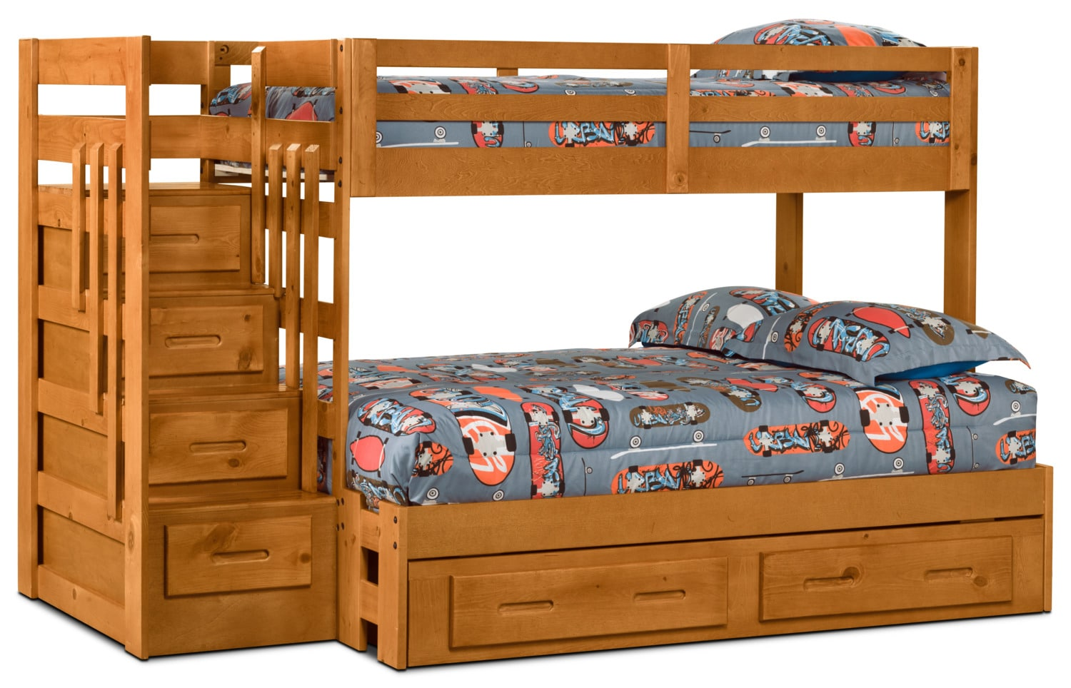Ponderosa Twin/Full Staircase Bunk Bed with Storage Trundle