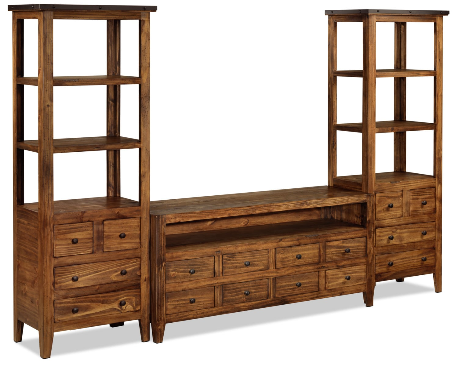 Casey 3-Piece Entertainment Wall Unit - Walnut
