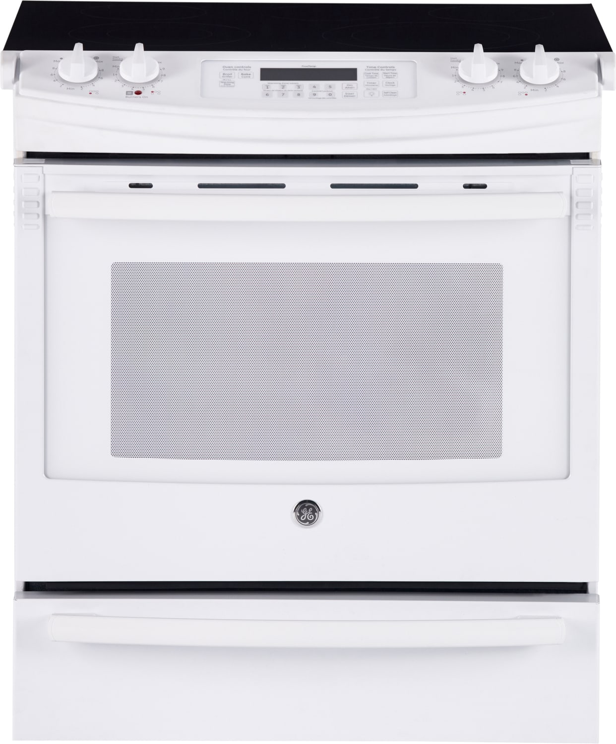 GE White Slide-In Electric Convection Range (5.2 Cu. Ft.) - JCS860DFWW