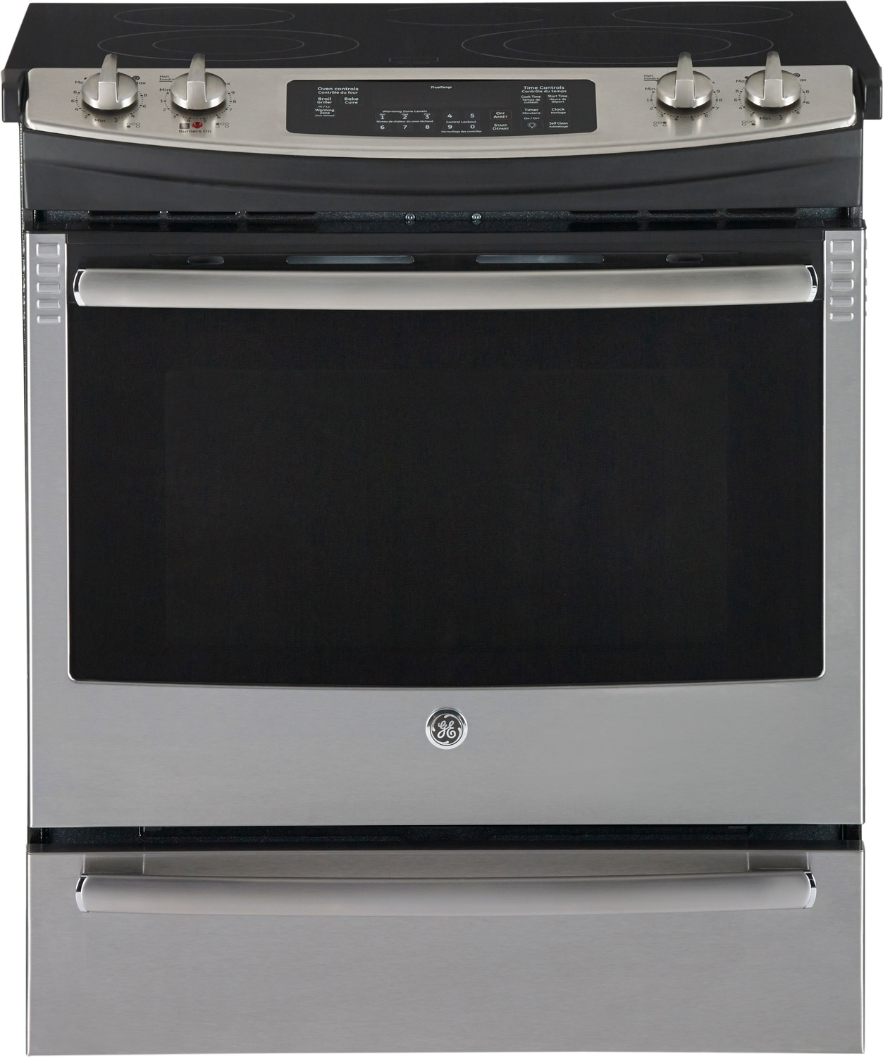 GE Stainless Steel Slide-In Electric Convection Range (5.2 Cu. Ft.) - JCS860SFSS