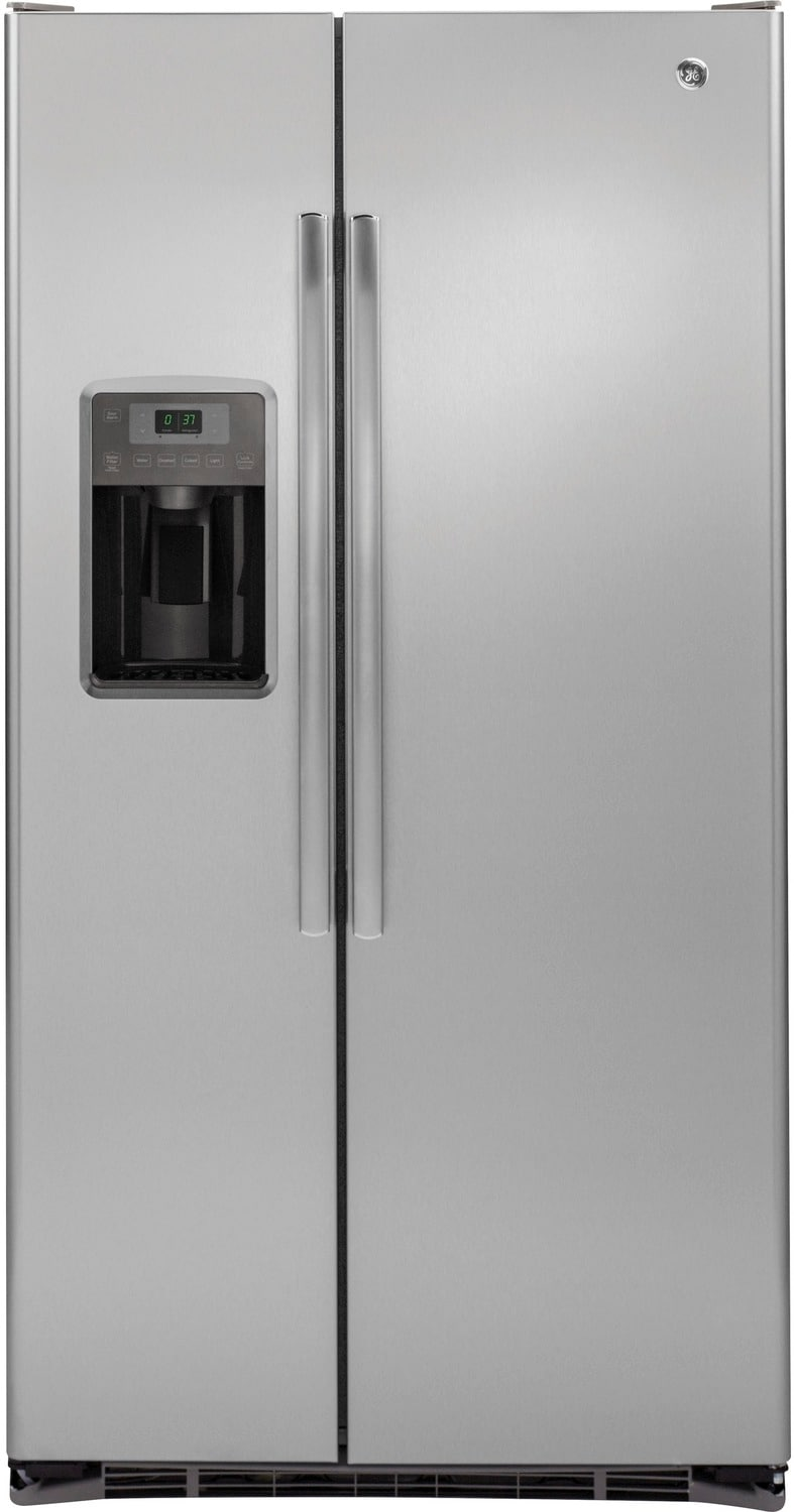 GE Stainless Steel Counter-Depth Side-by-Side Refrigerator (21.9 Cu. Ft.) - GZS22DSJSS