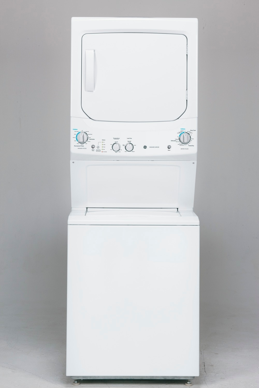 GE White Unitized Spacemaker Washer and Gas Dryer - GUD27GSSJWW