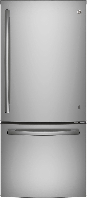 GE Stainless Steel Bottom-Freezer Refrigerator (20.9 Cu. Ft.) - GDE21DSKSS