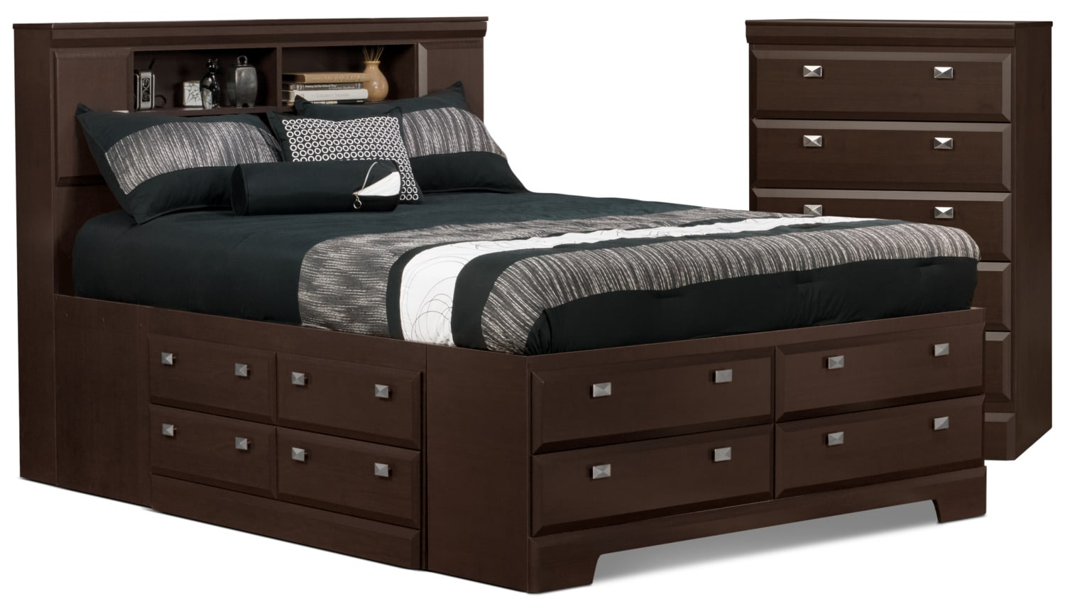 Yorkdale 4-Piece Queen Bookcase Storage Bed and Chest Package