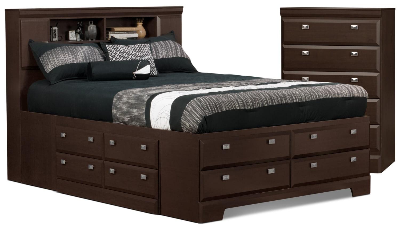 Ensemble Yorkdale 4 pièces avec grand lit bibliothèque de rangement et commode verticale