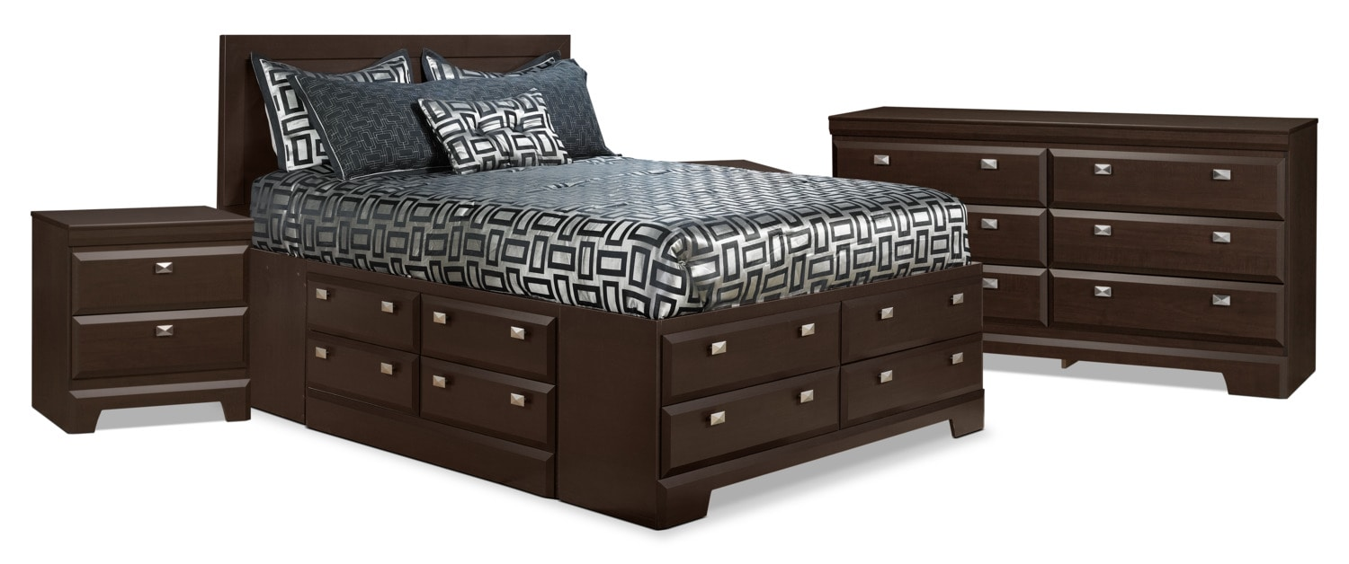 Yorkdale 6-Piece Full Storage Bedroom Package with 2 Nightstands