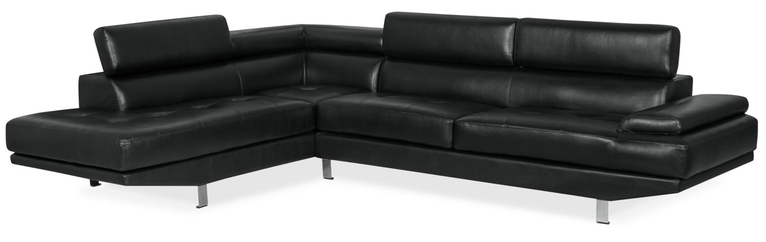 Ozzie 2-Piece Leather-Look Fabric Studio-Size Left-Facing Sectional – Black