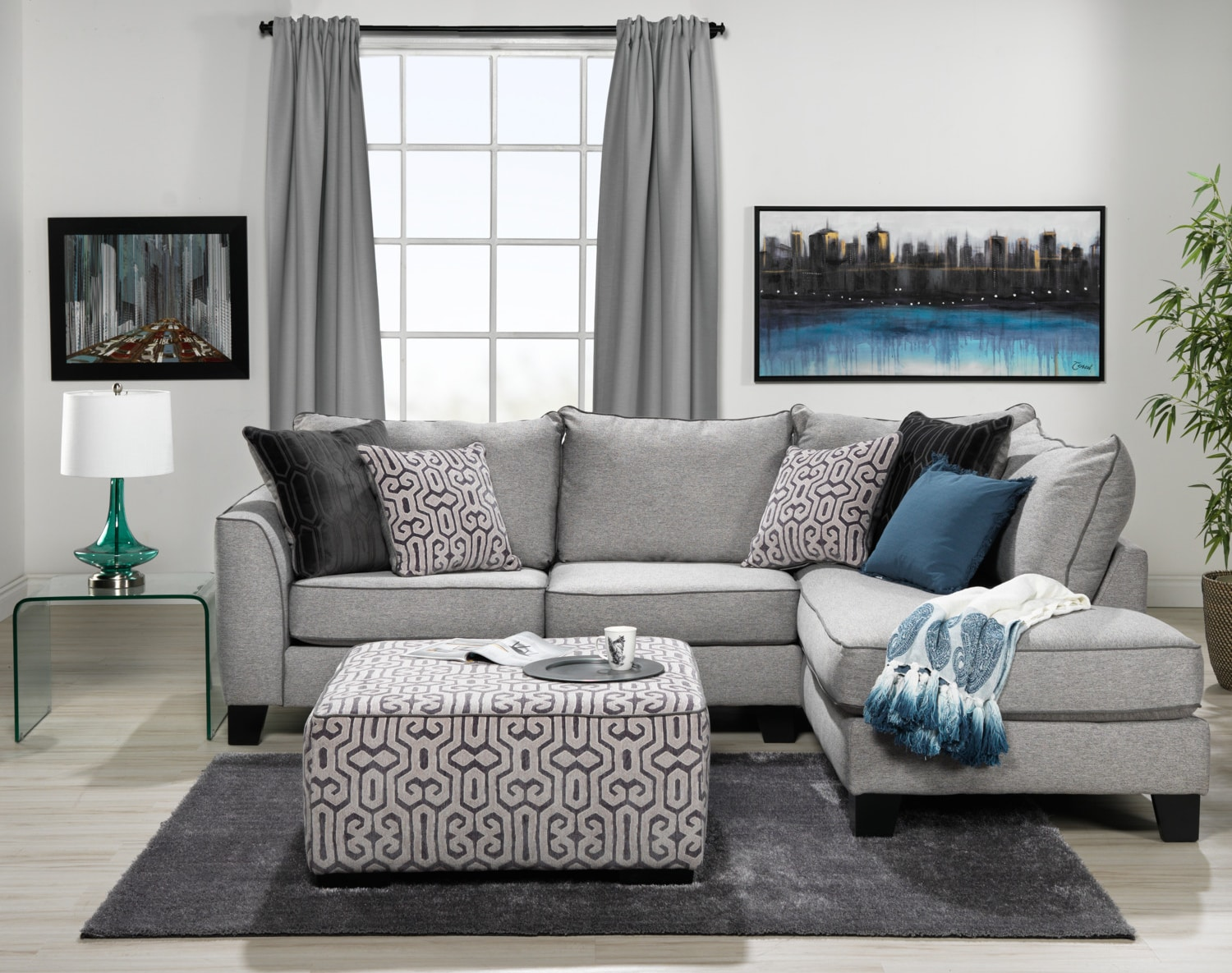 Trounce 2 piece sectional with chaise grey leon 39 s for 2 piece sectional sofa with chaise