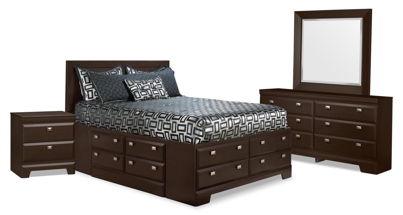 Chambre à coucher - Ensemble de chambre à coucher Yorkdale 6 pièces avec lit double de rangement