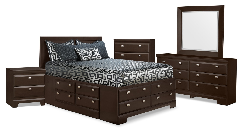 Chambre à coucher - Ensemble de chambre à coucher Yorkdale 7 pièces avec lit double de rangement